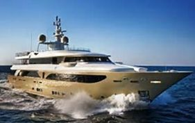 Megayacht in the Mediterranean.