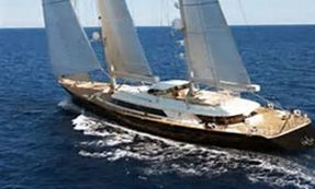 Sailing Megayacht in the Mediterranean.